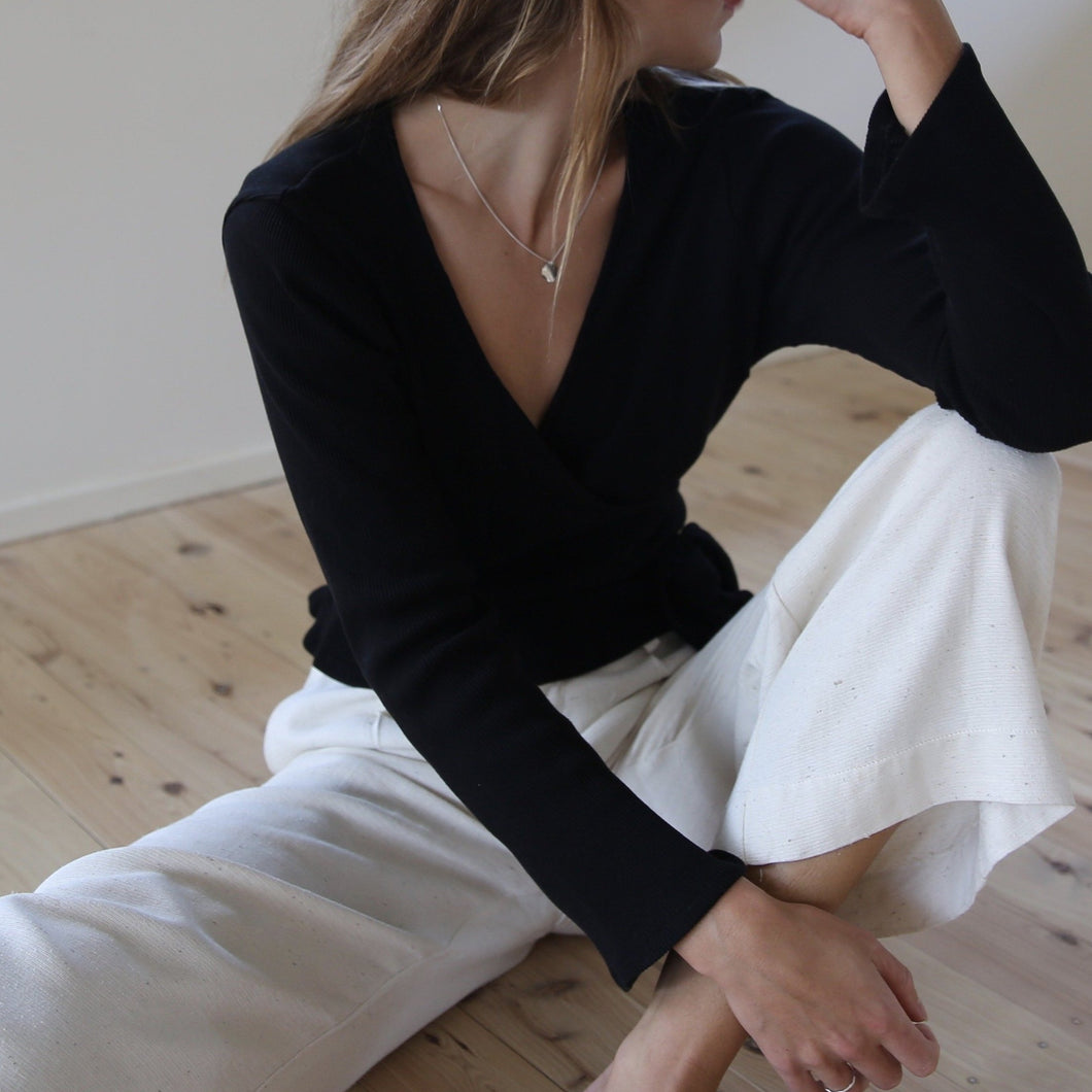 Clio Wrap Top in Black