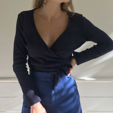 Load image into Gallery viewer, Clio Wrap Top in Navy