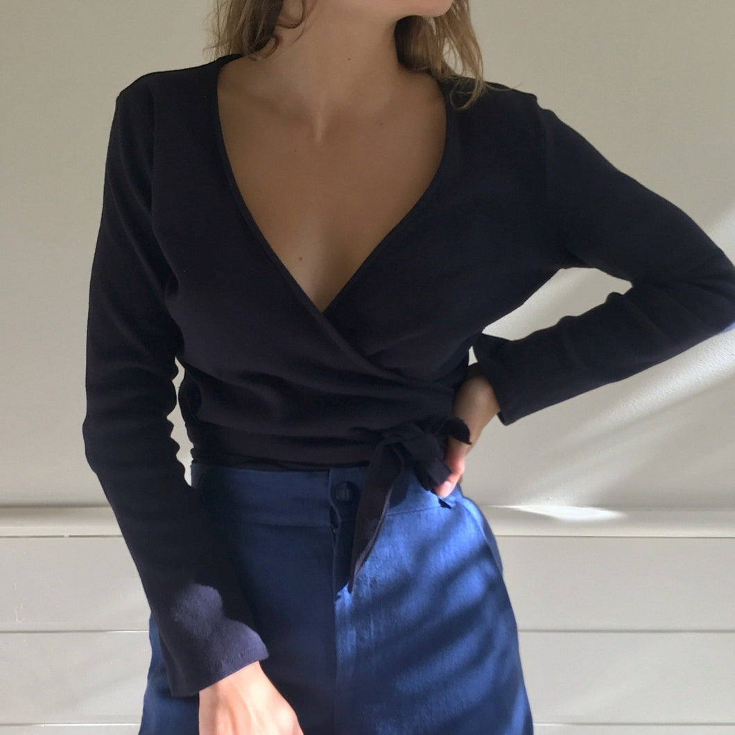Clio Wrap Top in Navy