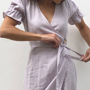 Adelpha Wrap Dress in Lavender Gingham
