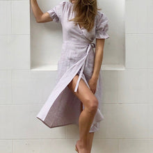 Load image into Gallery viewer, Adelpha Wrap Dress in Lavender Gingham