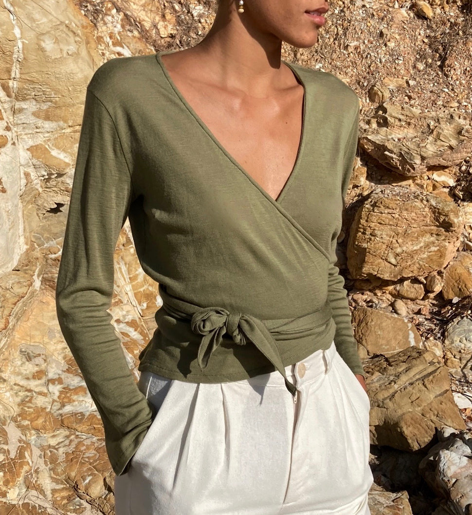 Clio Wrap Top in Dried Herb