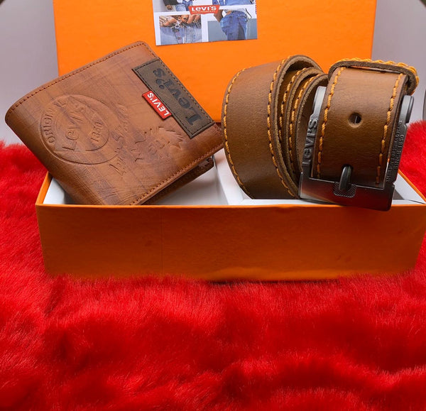 Pure Levis Leather Belt & Wallet Branded Combo