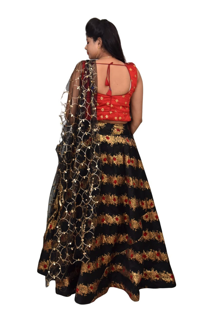 Designed Crop Top and Skirt with Dupatta