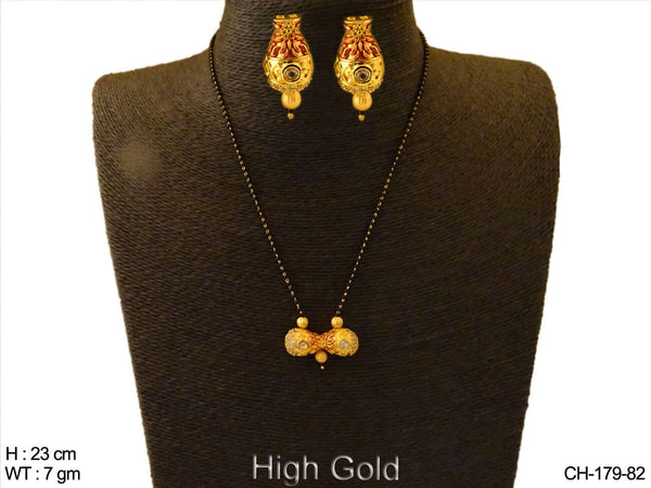 Pot Style Earrings AD Mangalsutra Cian