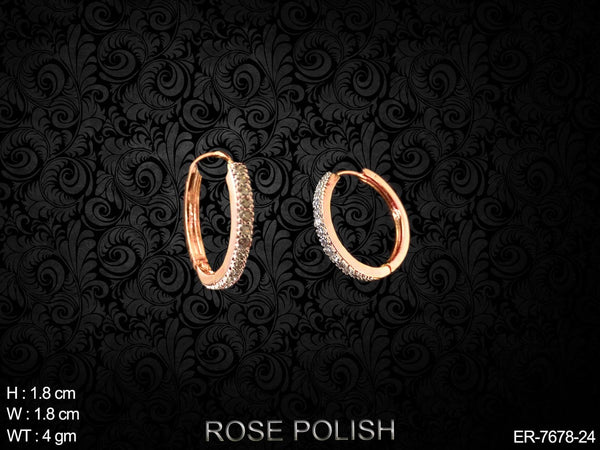 Rose polish small AD bali earring