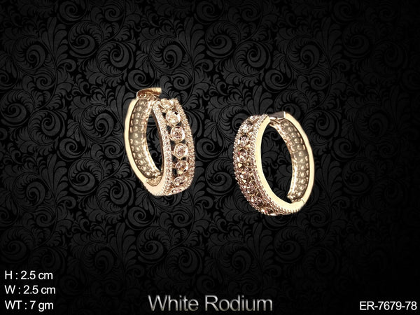 White rodium full diamond ad earring