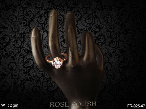 Exclusive one big daimond rose polish AD finger Ring
