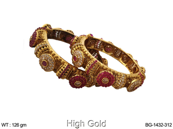 Rani white full stone polki bangle