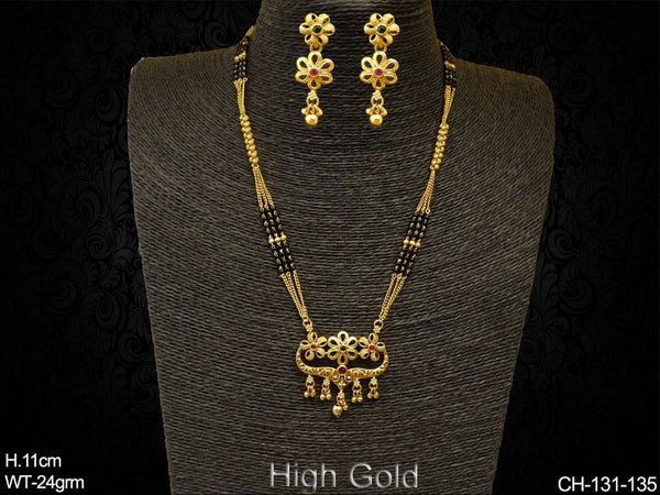 Triple Flower Style Antique Mangalsutra Chain