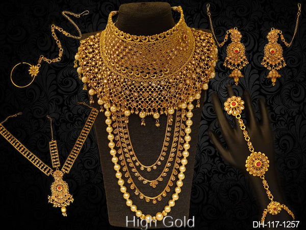 Multi Layer Moti Stone Heavy Dulhan Set