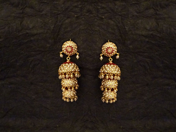 Triple Jhumki Jadau Earrings