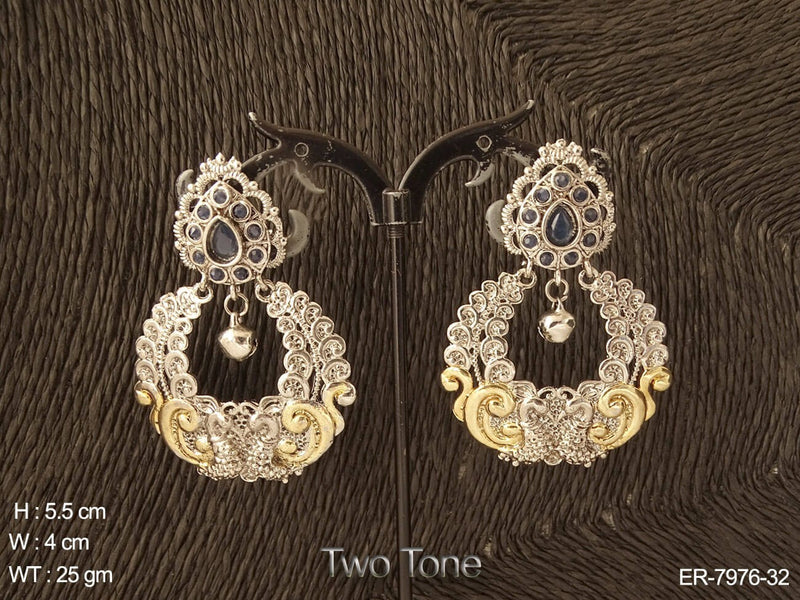 Fancy peacock two tone antique earring