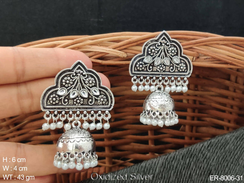 Paan pearl drop oxcid silver antique jhumka earring