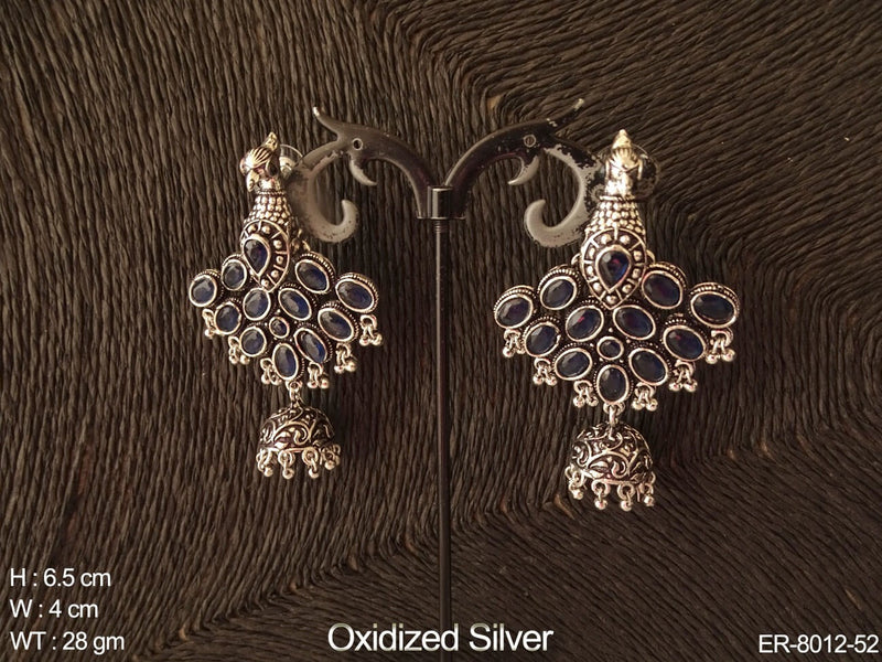Multiple colour stone peacock design antique earring