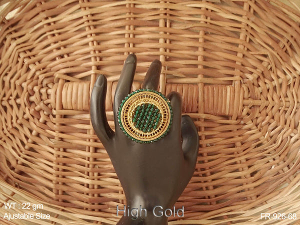 Crystal moti ruby green meena antique finger ring