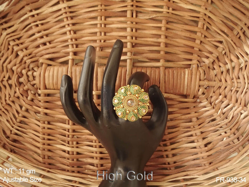 Paan flower gheru polish antique finger ring