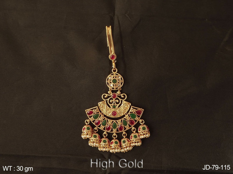 Ruby green jhumka attach polki juda