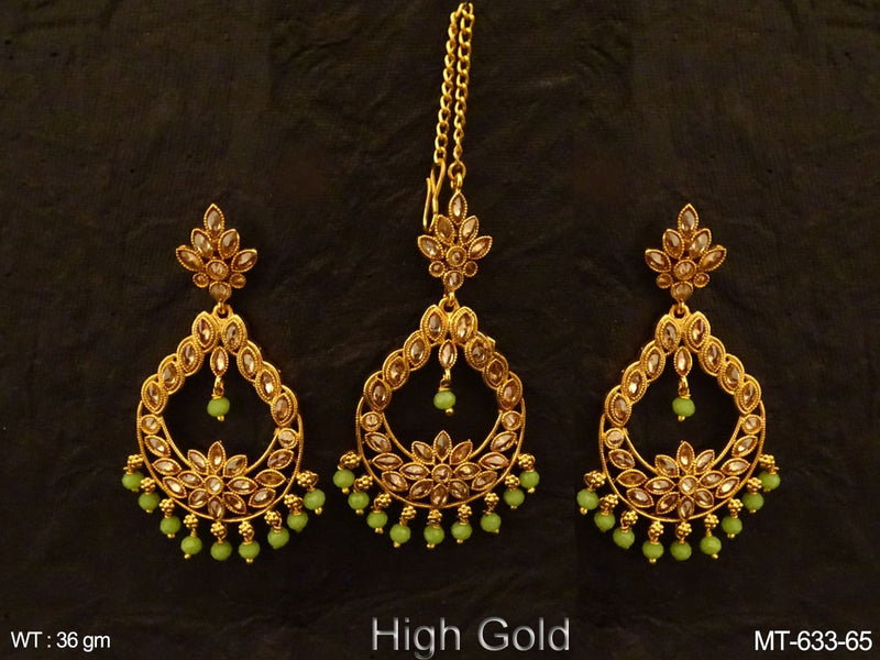 Chand Shape Paan Stone Maang Tikka Earrings
