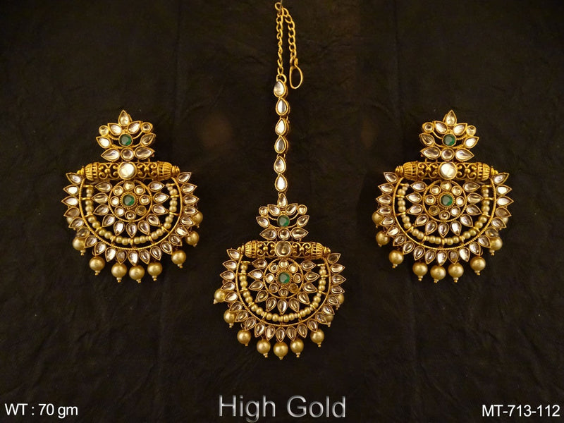 Half Chand shape Pillow Base Polki Maang tikka Earrings
