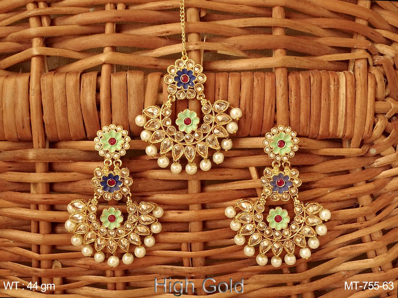 Lct stone meena pearl drop Maang tikka with earring