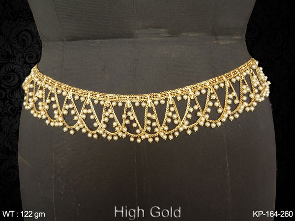 Curve design pearl chain high gold antique kamar patta