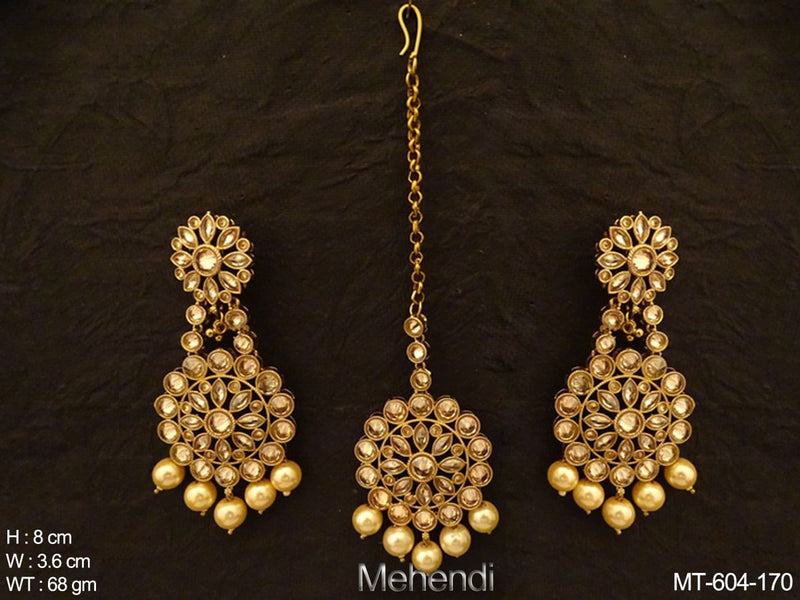 Multiple Shape Lct Stone Antique Maangtikka Earring