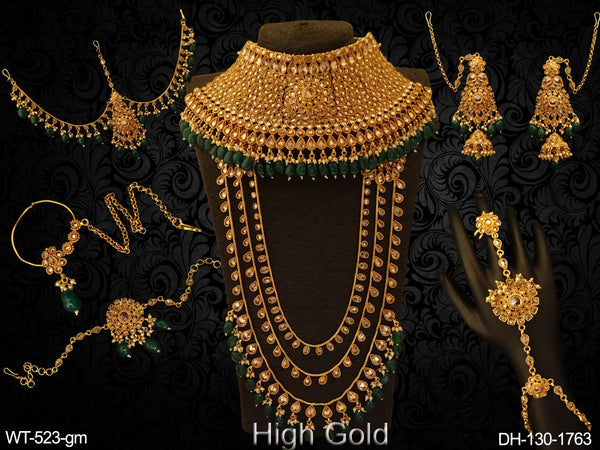 Paan Full Stoned Heavy Polki Dulhan Set