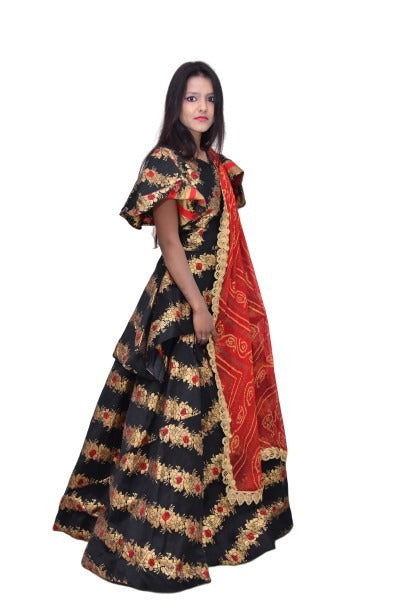 Designed Crop Top and Skirt with Bandhej Dupatta