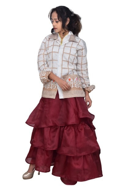 Designed Beautiful Shirt with Skirt