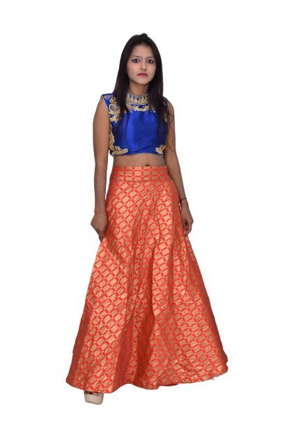 Designed Stylish Crop Top and Skirt