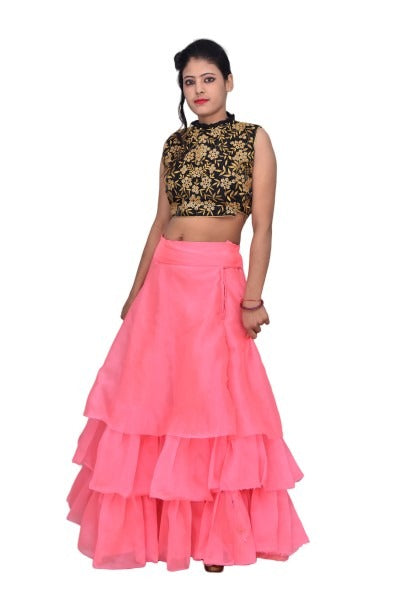Designed Crop Top and Skirt
