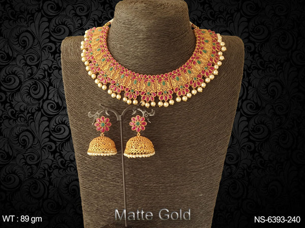 pearl drop rani green matta gold kemp necklace set