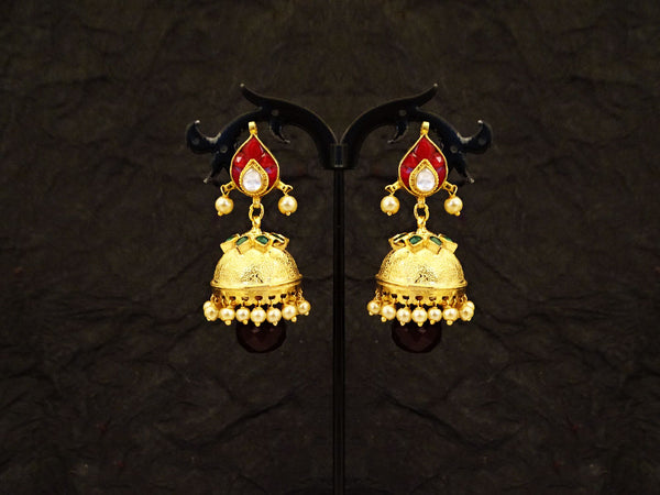 dome paan style kundan earrings