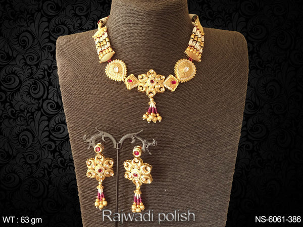 Rajwadi polish artificial rani green kundan necklace