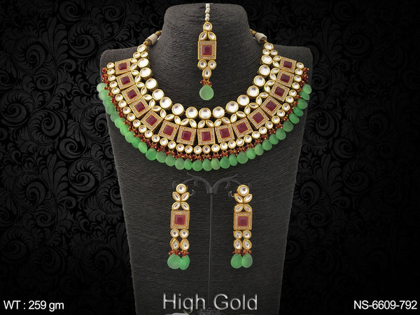 Bollywood fancy beads heavy kundan necklace set