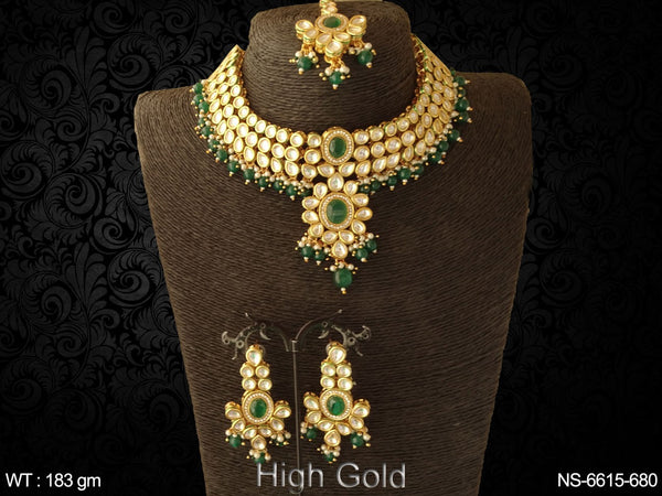 Heavy kundan exclusive party wear beads necklace set