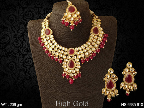 Bollywood heavy ruby green kundan paan necklace set