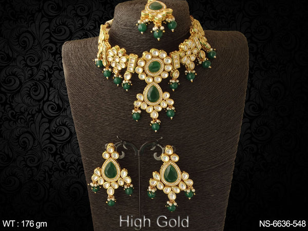 Ruby green paan beads heavy chokar kundan necklace set