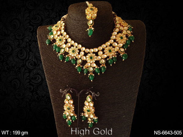 Full green beads heavy kundan necklace set