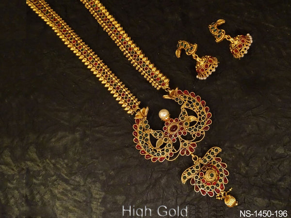 designer peacock style kemp necklace set