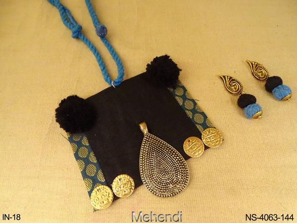Square Shape Fabric Necklace Sets
