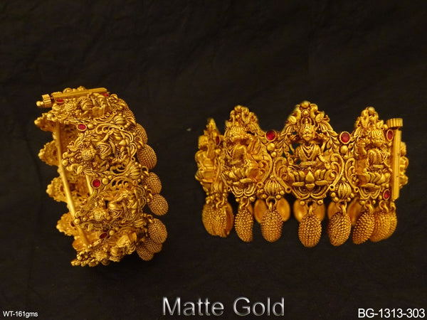 Laxmi Ji Textured South Temple Bangles