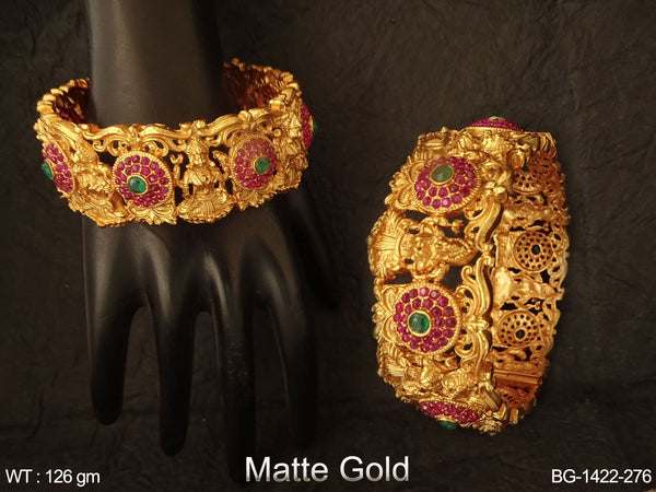 Laxmi mata ruby green stone matta gold temple bangle