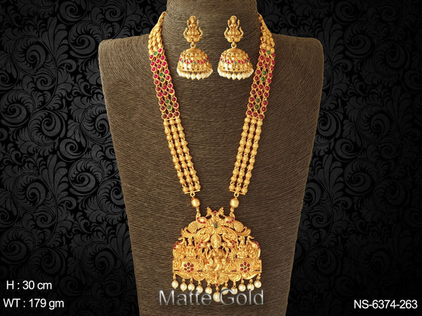 Laxmi mata rani green stone long kemp necklace set