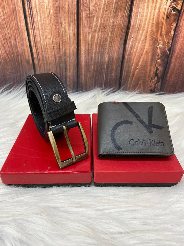 Pure Calvin Klein Leather Belt & Wallet Branded Combo