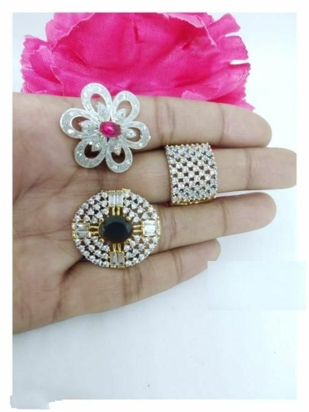Trendy Alloy Women's Finger Rings ( Pack of 3 rings in Single Set ) - FASHION VERIZON ™