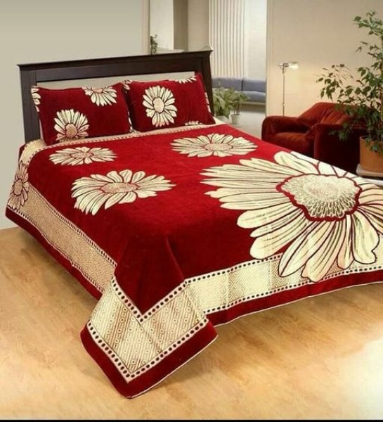 Stylish Chenille Printed Double Bedsheet - FASHION VERIZON ™