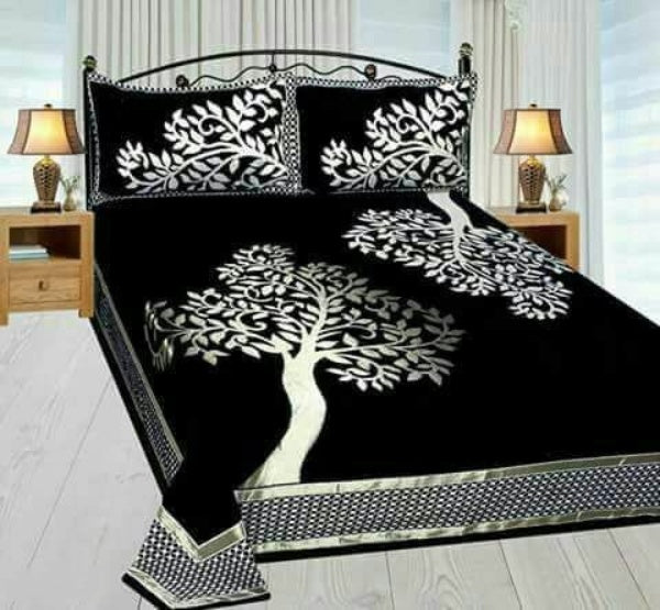 Cozy Chenille Printed Double Bedsheet - FASHION VERIZON ™
