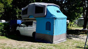 Sky Loft Glamping Tent and annex on a van